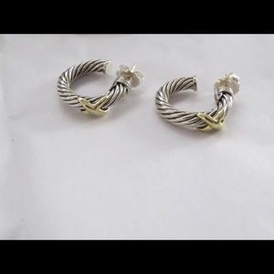 David Yurman Silver/Gold X Collection Earrings